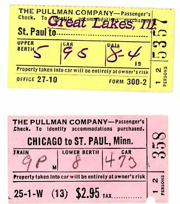 Orig  two vintage tickets, Pullman Company, from 1946, to St Paul; Great Lakes