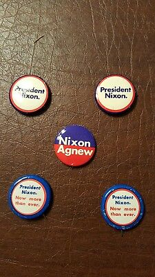 Lot of 5 President Nixon, Nixon Agnew, Now More Than Ever Campaign Button Pins