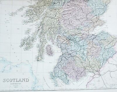 1883 Large Map Scotland Kirkcudbright Edinburgh Berwick Stirling Glasgow Fife