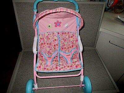 """Fisher Price Little Mommy Doll-Stroller-Double Twins 18"""" x 19"""" x 16""""  Lot S10"""