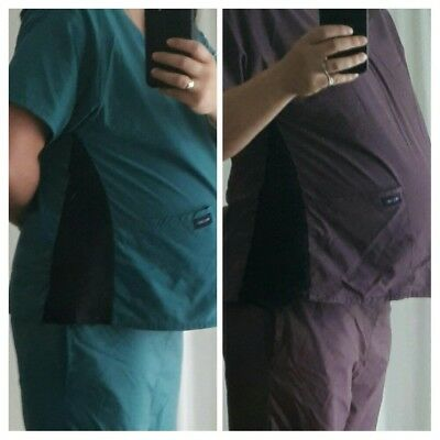 Maternity Scrubs. Nursing uniform - 2 pairs (aqua and purple)