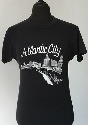 vintage 80s ATLANTIC CITY soft thin TOURIST T SHIRT small