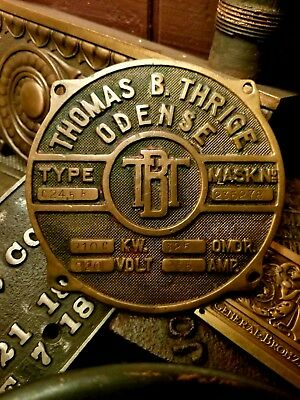 Early Electric TbT Bronze Industrial Motor Emblem Thomas Thrige