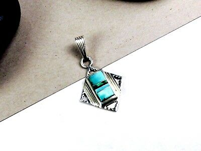 Navajo IJS Sterling Silver Turquoise Inlaid Handmade Southwestern Slide Pendant