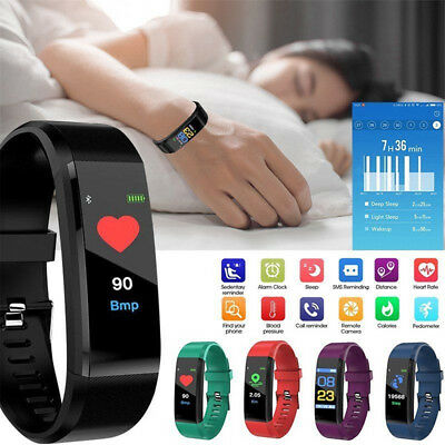 ID115 Plus HR Smart Bracelet Wristband Tracker Sleep Heart Rate Monitor Gifts FO