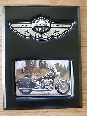 Harley Davidson 100th anniversary cherry wood satin black plaque oem emblem