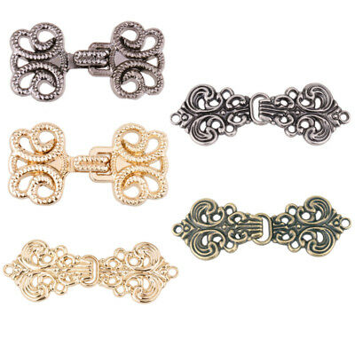 5 Pairs Baroque Flower Cape Cloak Clasp Fasteners Sew Hook Eye Cardigan Button