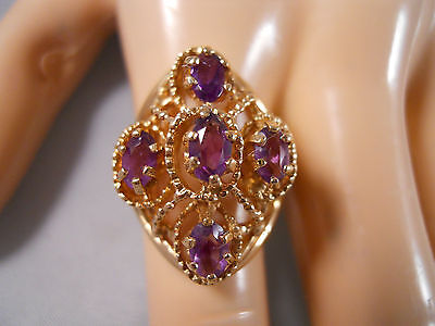 Heavy  7.09G Wide 10K Yellow Gold 1Ct Amethyst Byzantine Flower Bead Ring 7.25