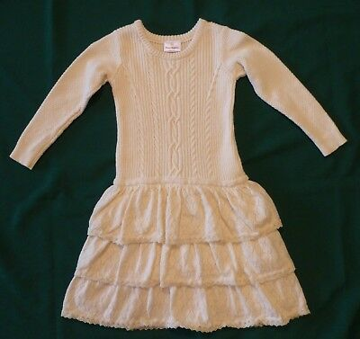 Hanna Andersson Ivory LS Sweater Knit Dress 120 6-7 TIERS Cotton/Wool Blend