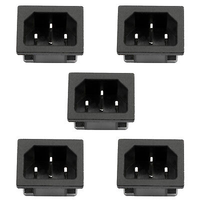 5PCS IEC320 C14 3 Pin  Male Power Socket 10A 250V For Boat DIY AC-05A US
