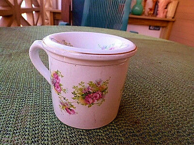 SHELLEY BONE CHINA VERY OLD FLORAL DECOR 2 PC. LADIES SPITTOON SIGNED w/RED MARK