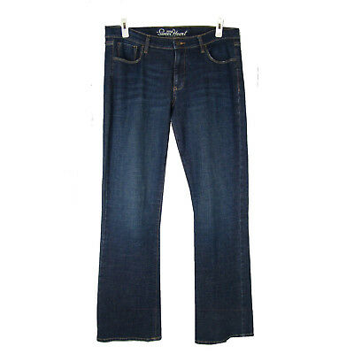 """OLD NAVY SweetHeart Jeans 12 Long Mid Rise Boot Cut Stretch Dark Wash Denim 33"""""""