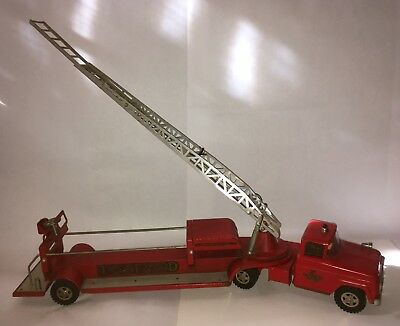 Vintage 1960's Tonka TFD No. 5 Hydraulic Fire Truck Pressed Steel Red