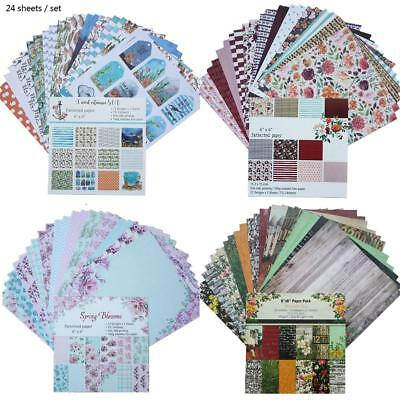 24PCS 6 Inch Background Paper Single Side Pattern For DIY Album Scrapbook Cards