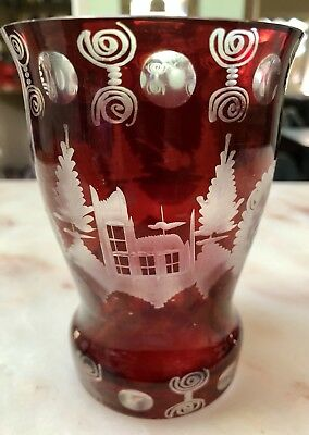 Beautiful ANTIQUE VINTAGE BOHEMIAN RUBY RED CUT TO CLEAR GLASS VASE
