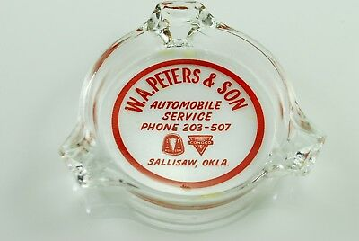 Vintage 1930's Advertising Ashtray W.A. Peters and Son Sallisaw OK Conoco Hudson