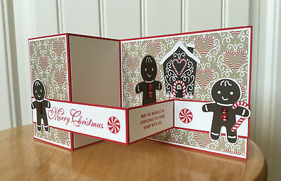 Christmas card kit - double z-fold gingerbread man - made w/ Stampin Up product