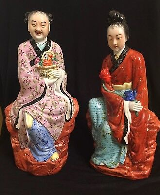 Pair Of Vintage Famille Rose Chinese Porcelain Figurines Man Woman Exc 12""