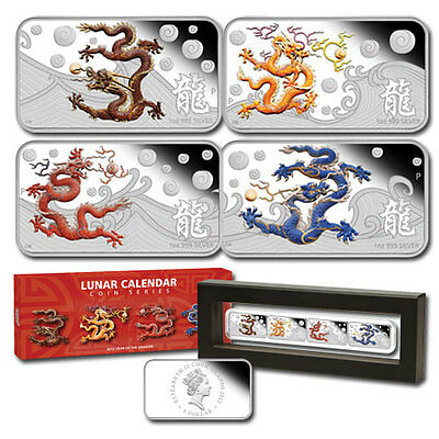 Year of the Dragon Cook Islands 2012 Silver 4 x $1 Proof Coin Set Perfect