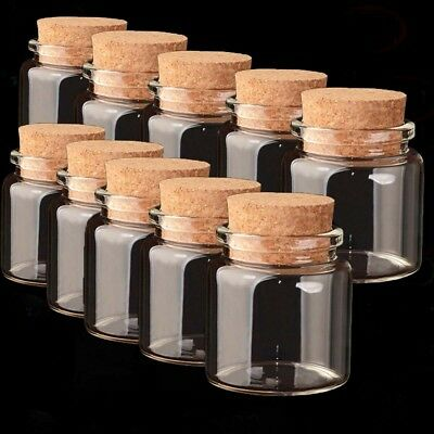 1-10Pcs 50ml Empty Sample Vials Clear Glass Bottles With Corks Jars  Lid 47x50mm
