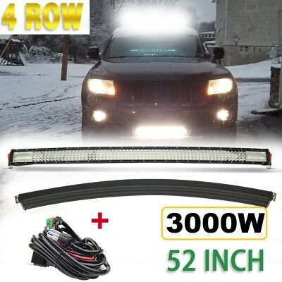 52inch 3000W Curved Cree Led Light Bar Spot Flood Combo Quad Row Driving Offroad