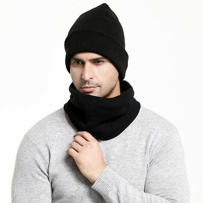 2Pcs Mens Women Hat And Scarf Set Winter Warm Solid Soft Knit Beanie Cap Scarves