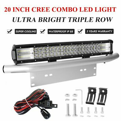 20 inch 480W 7D CREE LED Spot Flood Light Bar + Number Plate Frame Mount Bracket