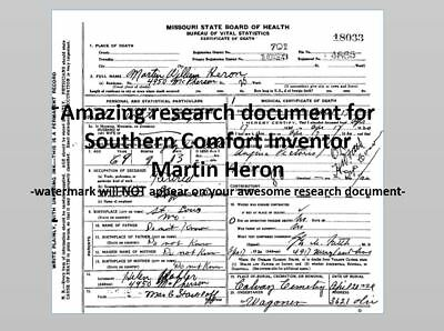 Southern Comfort Inventor DEATH CERTIFICATE Martin Heron, Very Cool Rsrch Item