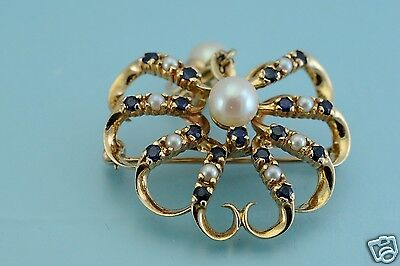 14k Yellow Gold  Pearl Sapphire Drop Brooch Pin pendant 10.7g, Mint