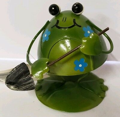 New Metal Bobblehead Frog Gardener Green Blue Flowers Gift Figurine Decor
