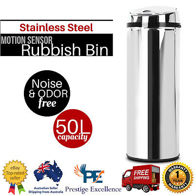 NEW 50L Rubbish Bin Motion Sensor Dustbin Hand Free Waste Basket Stainless Steel