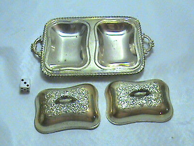 Vintage Silver Plated Ornate Covered Butter / Caviar Dish Made in Occupied Japan