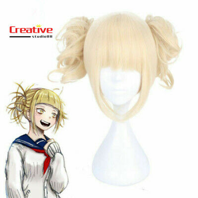 US! My Boku no Hero Academia Himiko Toga Light Blonde Ponytail Wig Cosplay Prop