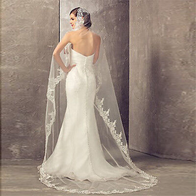 1 Layer Cathedral Wedding Bridal Veil Without Comb Lace Edge Applique New