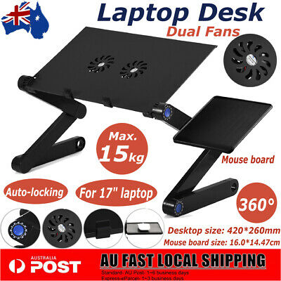 """360° Rotate Laptop Lap Stand Desk Table Tray Sofa Bed Mouse For Laptops 17"""""""