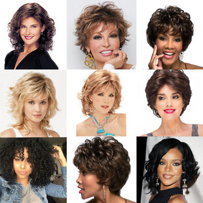 Blonde Brown Women's Short Wig Natural Straight Curly Wavy Hair Full Wigs Soft