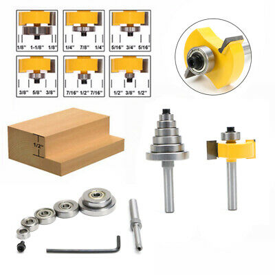 """2Pcs Rabbet Router Bit with 7 Bearings Set -1/2""""H - 1/4"""" Shank For Solid Wood"""