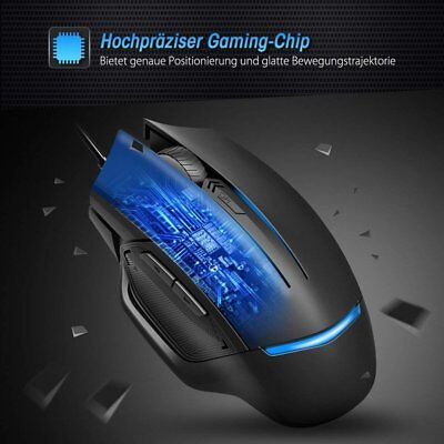 USB 3200DPI 6 Programmable Button LED Wired Backlit Gaming Mouse Mice US STOCK