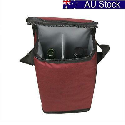 AU Portable Red Wine Tote Bag 2-Bottle Carrier Insulated Holder Cooler Ice Pack