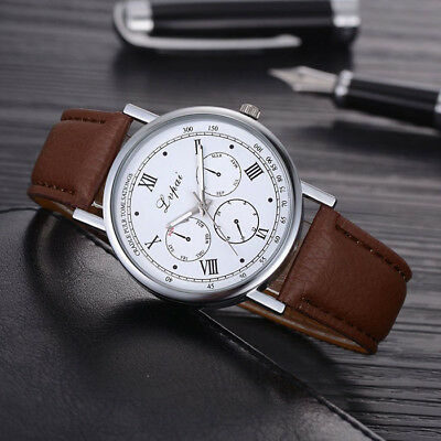 PU Leather Round Quartz Analog Men Watch Fashion Men's Casual Watch Wristwatches
