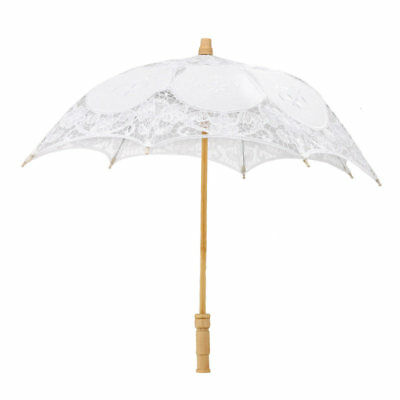 Vintage Lady Women Handmade Cotton Parasol Lace Umbrella for Party Wedding
