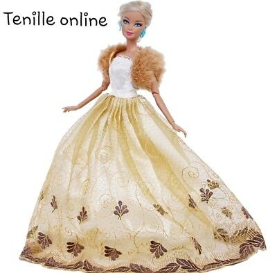 New Barbie doll clothes outfit princess wedding cocktail dress gold fur coat