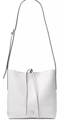 ebfde330d723 New michael kors Junie Messenger Optic White Leather Tie Snap Accent Bag  Tote