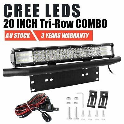 20 inch 480W 7D CREE LED Light Bar + 23'' Black Number Plate Frame Mount Bracket