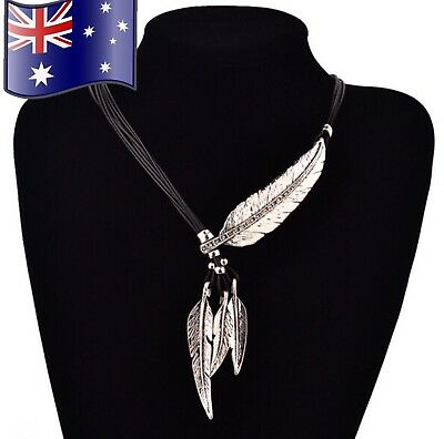 Silver or Gold Crystal Feather Charm Boho Vintage Pendant Leather Chain Necklace