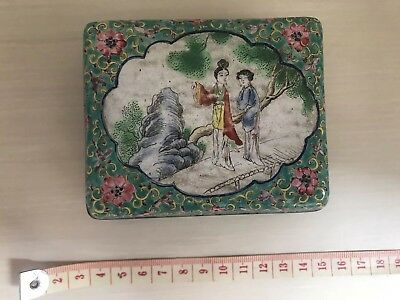 Antique Chinese Cloissone Green Flowers Ladies Box