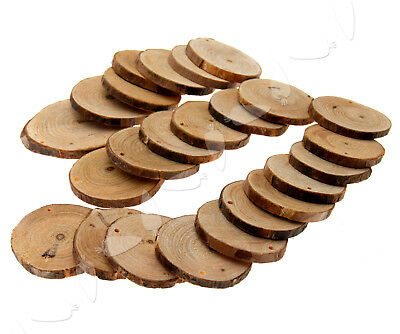 24 Natural Wood Round Discs Slices With Hole for DIY Craft Hobbies Pyrography