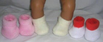 Dolls clothes 3 pairs Fleece shoe/booties to fit My First baby Annabell 14 doll.