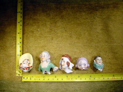 5 x excavated vintage art deco doll head for mixed media altered Art 11742