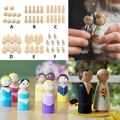 Family Wood Peg Dolls Wooden Figures Mini People DIY Craft Toy Set Surp -AU SHIP